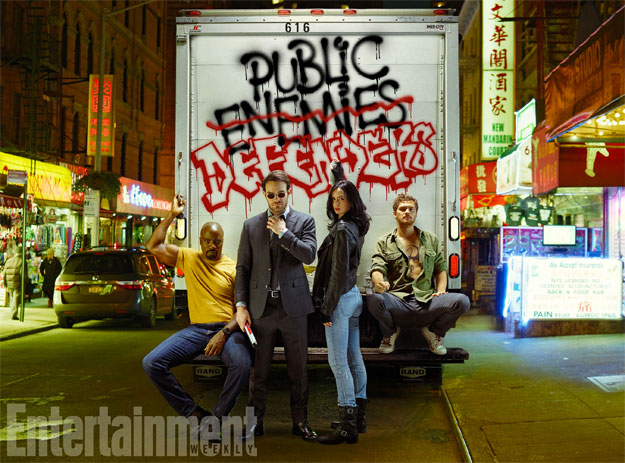 Mike Colter, Charlie Cox, Krysten Ritter y Finn Jones AKA The Defenders