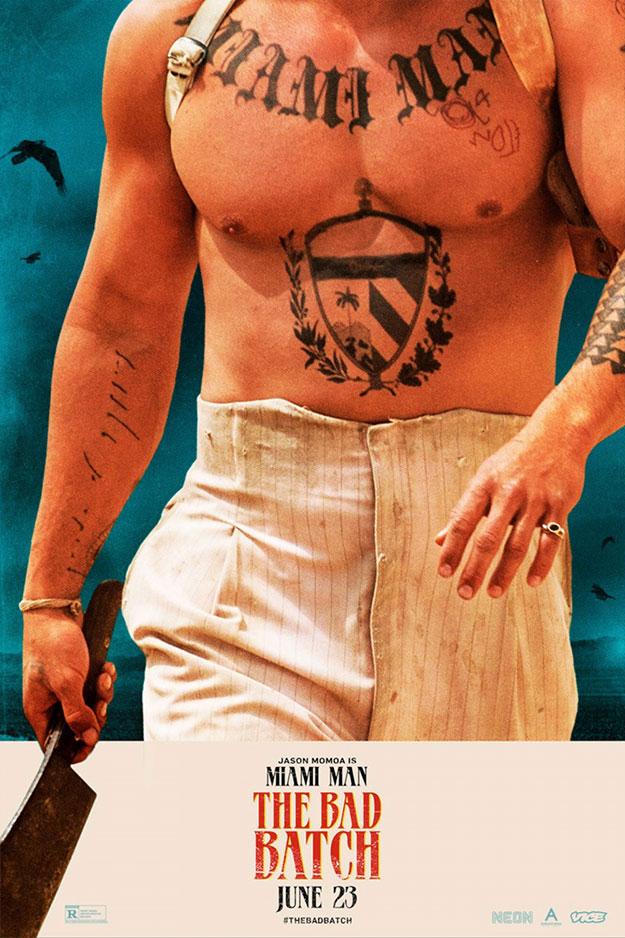 Cartelrs de Jason Momoa y Keanu Reeves en The Bad Batch