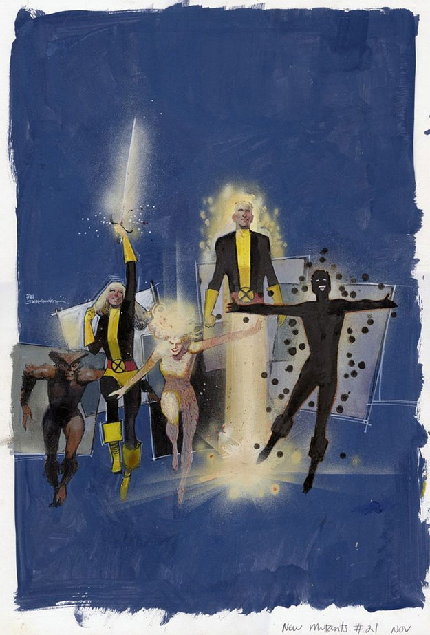 Bonito dibujo de Los Nuevos Mutantes con los protagonistas del film