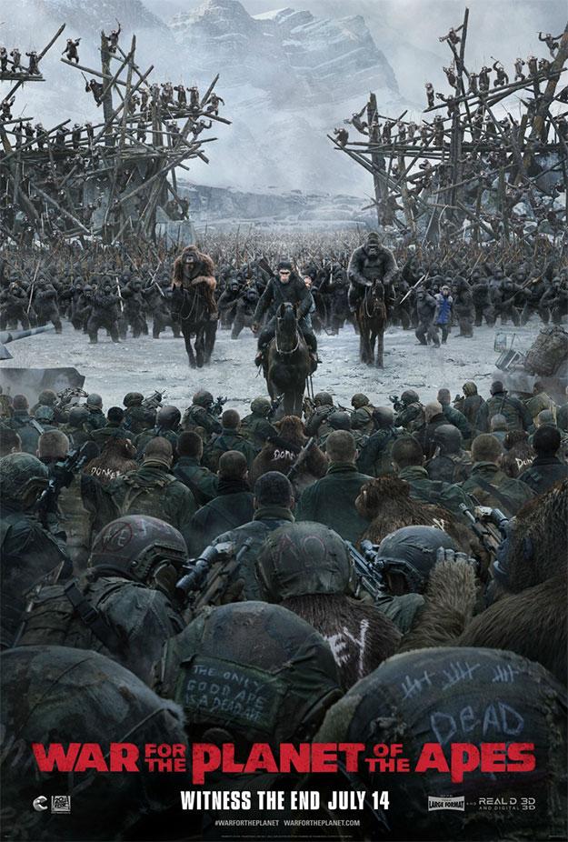 Un nuevo cartel de La guerra del planeta de los simios enfrenta a estos con los últimos humanos inhumanos