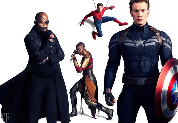 Samuel L. Jackson como Nick Fury, Danai Gurira como Okoye, Tom Holland como Spider-Man, y Chris Evans como Capitán América