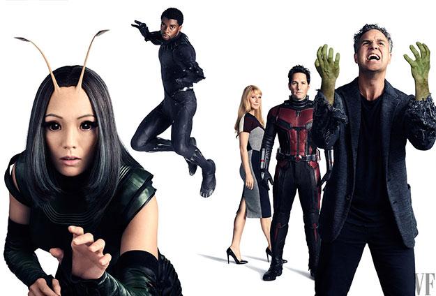 Pom Klementieff como Mantis, Chadwick Boseman como Black Panther, Gwyneth Paltrow como Pepper Potts, Paul Rudd como Ant-Man, y Mark Ruffalo como Bruce Banner y un poquito Hulk