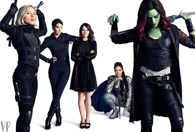 Scarlett Johansson como la rubia Black Widow, Cobie Smulders como Maria Hill, Linda Cardellini como Laura Barton, Tessa Thompson como Valkyrie, y Zoe Saldana como Gamora