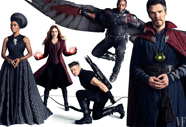 Angela Bassett como Ramonda, Elizabeth Olsen como Scarlet Witch, Jeremy Renner como Hawk Eye, Anthony Mackie como Falcon, y Benedict Cumberbatch como Doctor Strange