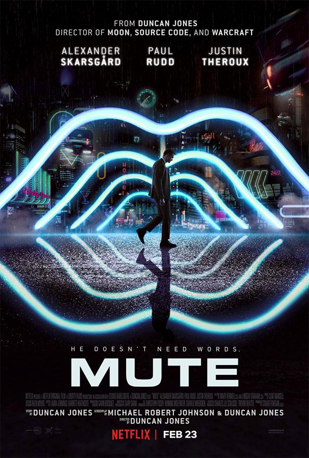 El primer póster de Mute, y puede que el único