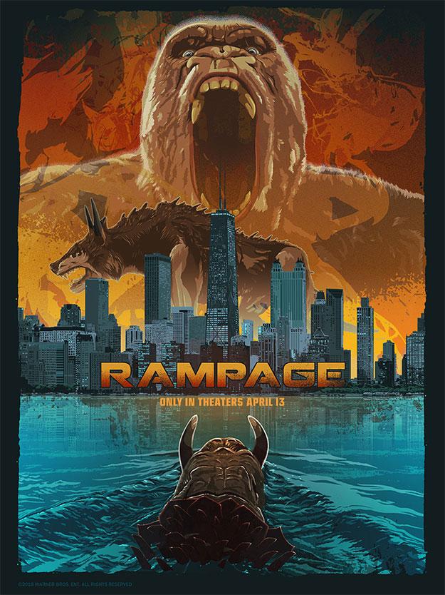 Cartel pintado de Rampage y parte de la semana Rampage que prepara Warner Bros.