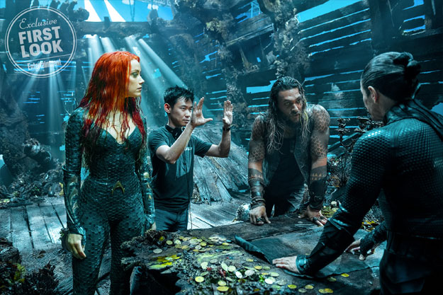 Mera (Amber Heard), James Wan, Aquaman (Jason Momoa) y Vulko (William Dafoe) rodando