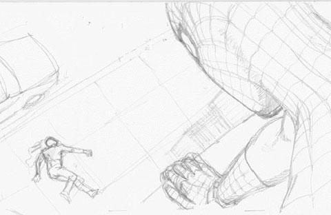Detalle del storyboard del Spider-Man de James Cameron: Spider-Man
