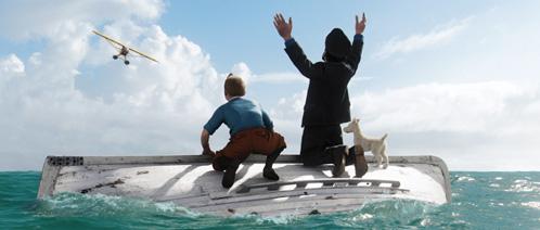 Tintín, Haddock y Milú alertando a un hidroavión de su posición