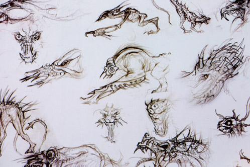 """Bocetos para el """"perro"""" de Predators"""