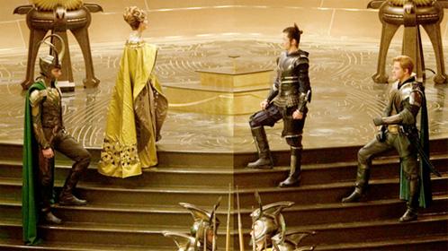 Detalle de la imagen de Thor de ayer con mejor acercamiento a  Loki, Fandral, Hogun y Frigga