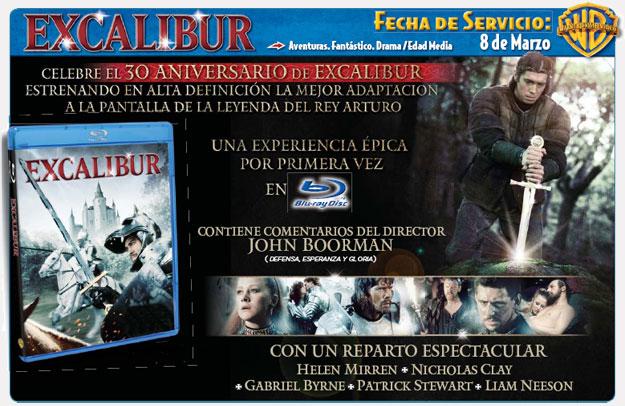 Anuncio del lanzamiento de Excalibur en Blu-Ray