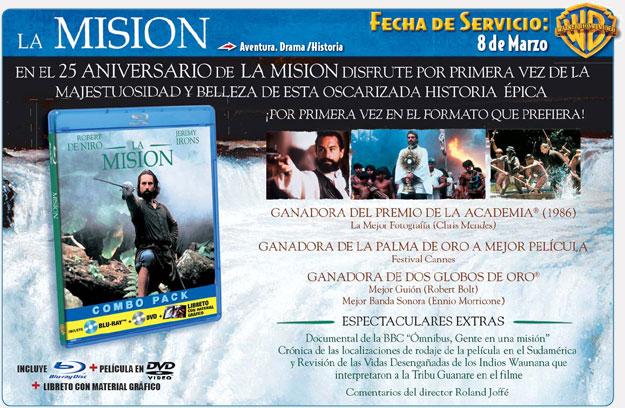 Anuncio del lanzamiento de La Misión en Blu-Ray
