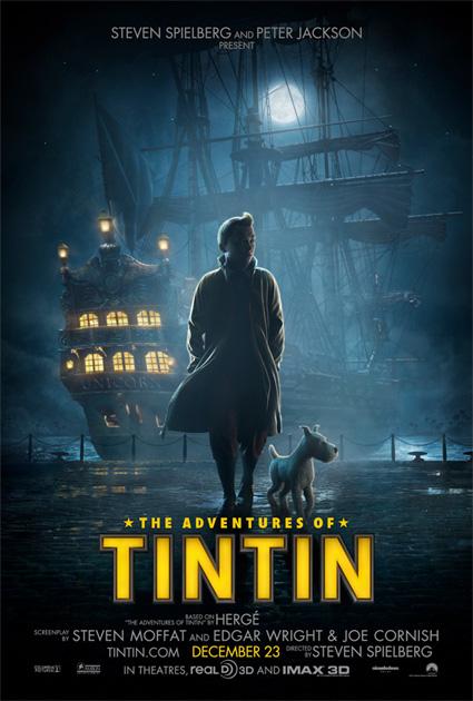 Un cartel de Las aventuras de Tintín: El secreto del Unicornio