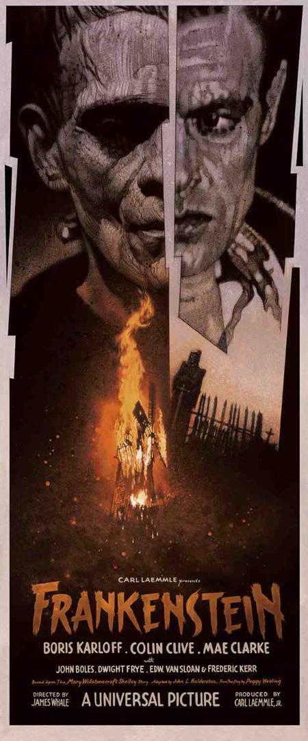 Fabuloso cartel del Frankestein de James Whale obra de Drew Struzan