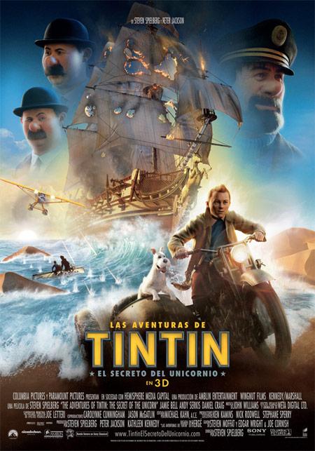 El cartel español de Las aventuras de Tintín: el secreto del Unicornio