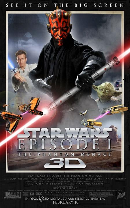 El cartel con que La amenaza fantasma 3D llegará a los cines en USA el 10 de febrero del 2012