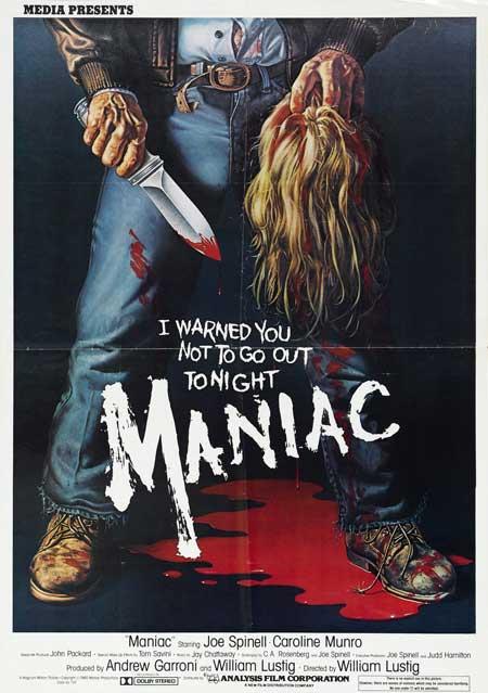 El cartel del Maniac de William Lustig... en la línea de la época