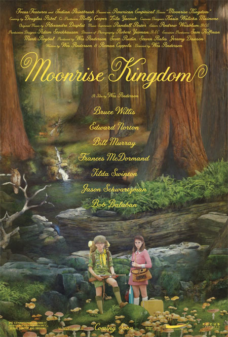 Simpático cartel de lo último de Wes Anderson... la raruna Moonrise Kingdom
