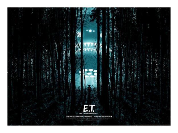 Precioso cartel de E.T. el extraterrestre obra de Alamo Drafthouse / Mondo