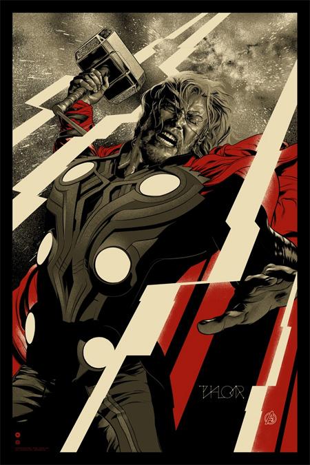 Póster Mondo de Los Vengadores: Thor obra de Martin Ansin