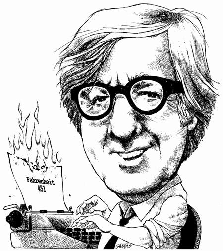 Caricatura de Ray Bradbury