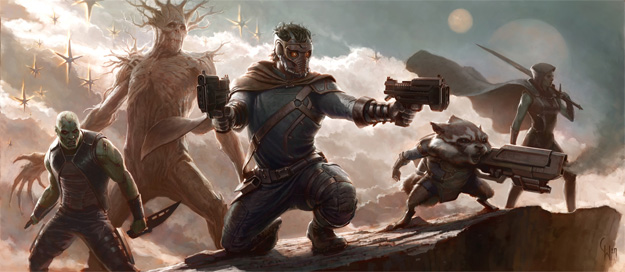 Primer concept art de Guardians of the Galaxy obra de Charlie Wen