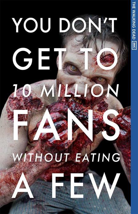 """Simpático cartel de AMC para celebrar los 10 millones de fans de """"The Walking Dead"""" en Facebook"""