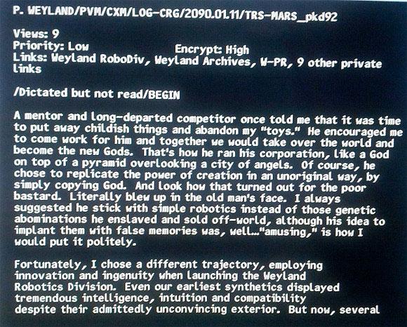 Rara imagen salida de la edición en Blu-Ray de Prometheus