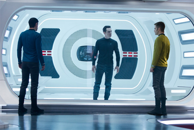 (Left to right) Zachary Quinto is Spock, Benedict Cumberbatch is John Harrison and Chris Pine is Kirk in STAR TREK INTO DARKNESS from Paramount Pictures and Skydance Productions