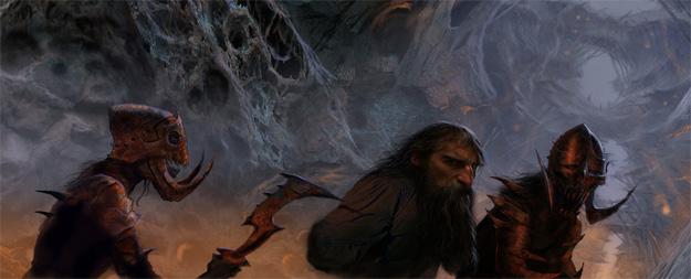 Enano escoltado por soldados del Rey Trasgo en las cuevas de este, obra de John Howe