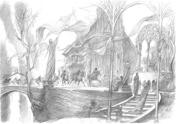 El grupo de Thorin es recibido por las tropas élficas de Elrond en Rivendel, obra de Alan Lee