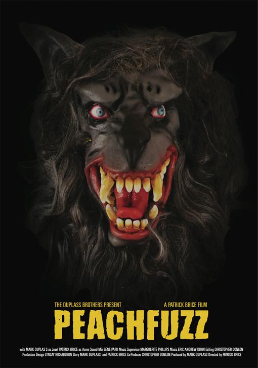 Cartel de Peachfuzz presentado en Sundance... ¿hombres lobo cutres salchicheros?