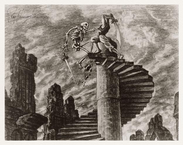 Concept art de Ray Harryhausen para uno de los films de Simbad
