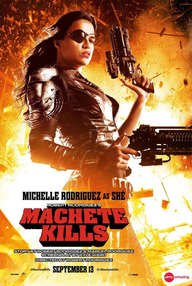 Aquí tenemos a Michelle Rodiguez dándolo todo como Shé en Machete Kills