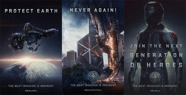 Tres carteles de propaganda de El juego de Ender