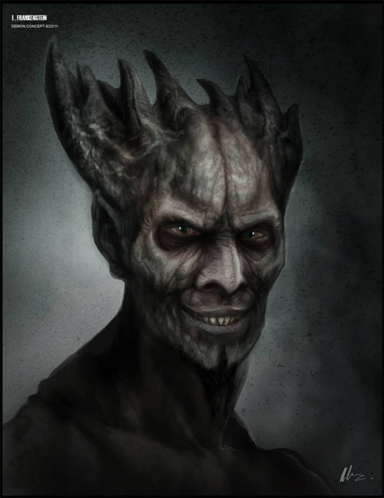 Concept art del demonio interpretado por Bill Nighy en I, Frankestein
