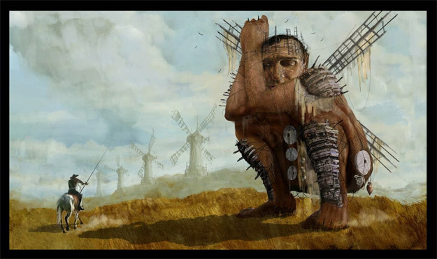 Curioso concept art de Terry Gilliam para su renacido interés en Don Quijote
