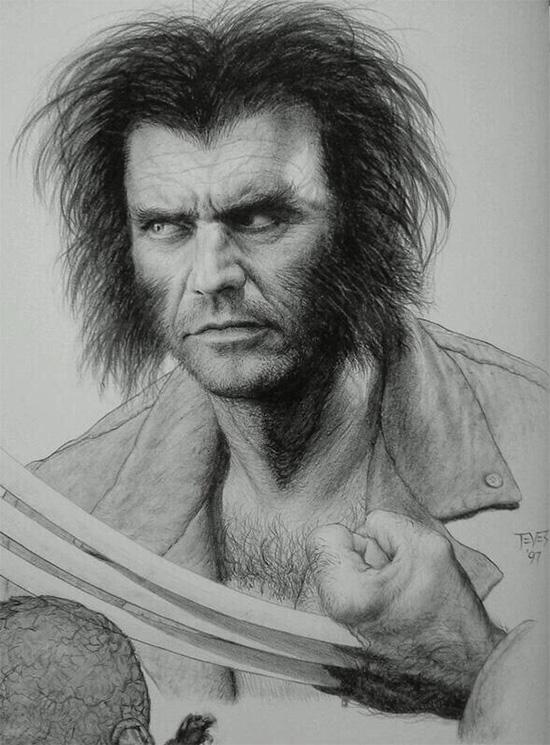 Concept art de Miles Teves con Mel Gibson como un potencial Lobezno... año 1997