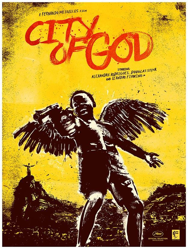Fabuloso cartel de Ciudad de Dios de Fernando Meirelles... de esos que decoran las casas