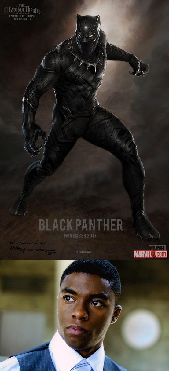 Concept art de Black Panther y el jeto de Chadwick Boseman