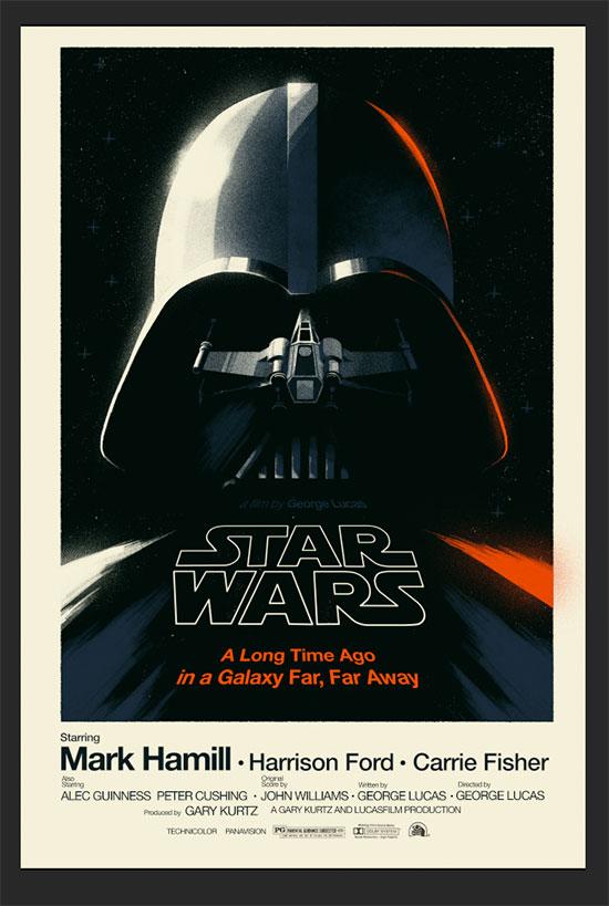De hoy en un año todos flipando, Olly Moss y un cartel, original, de La Guerra de las Galaxias