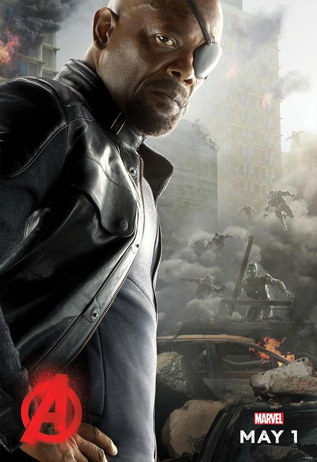 Otro cartel de personaje de Vengadores: La Era de Ultrón. Nick Fury