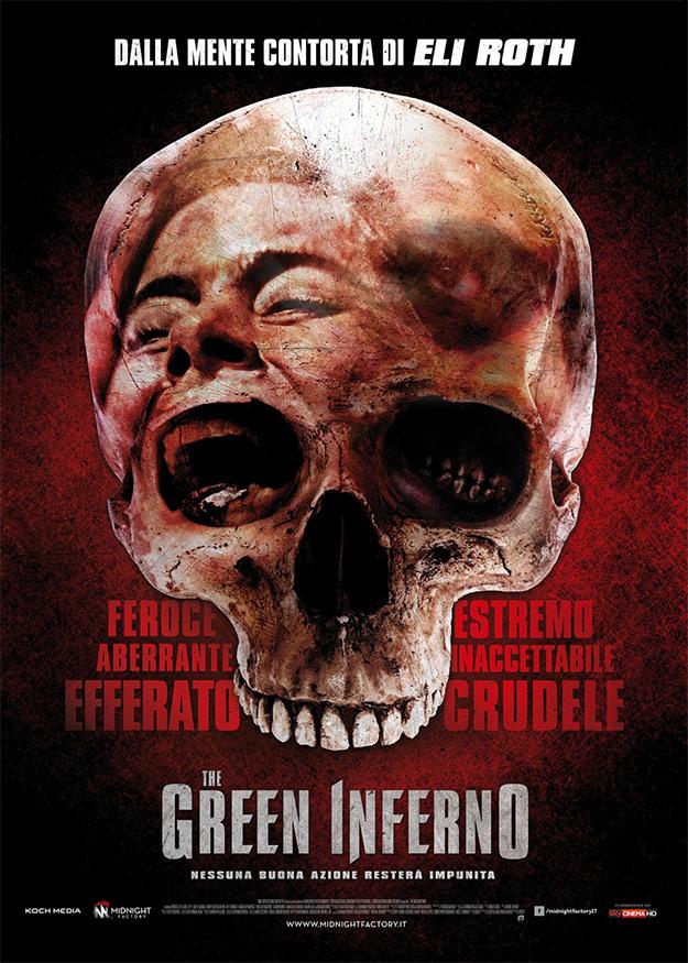 Póster italiano de The Green Inferno de Eli Roth, por eso de los homenajes del film a esos clásicos de Ruggero Deodato, etc.