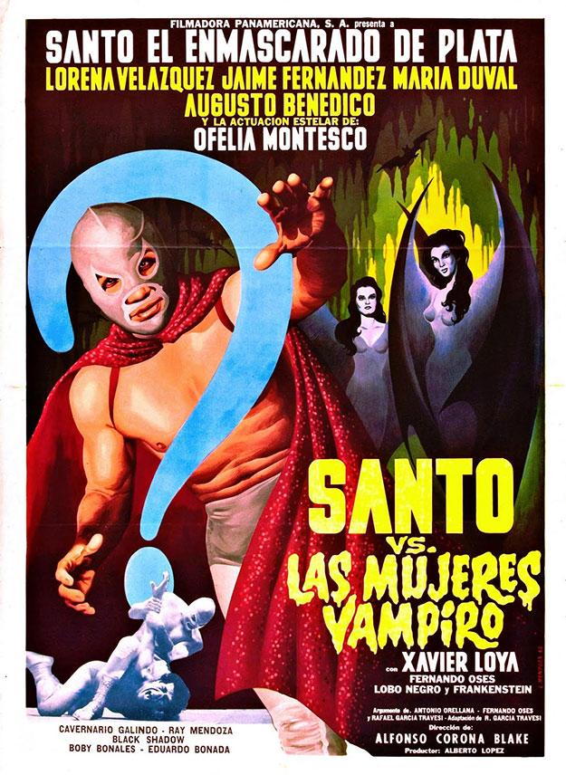 Un cartel de una película de Santo, el enmascarado de plata