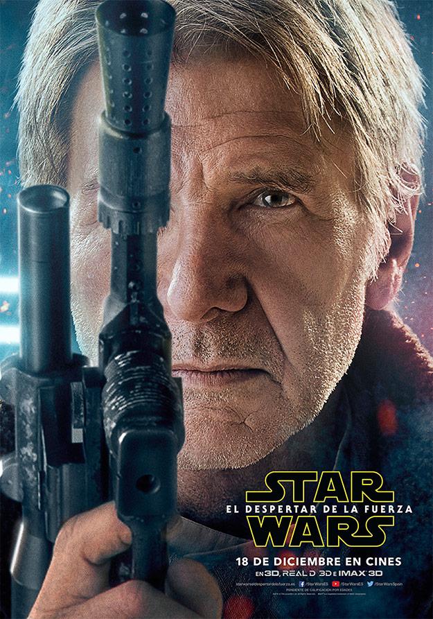 Cartel de Han Solo (Harrison Ford) en Star Wars: El Despertar de la Fuerza