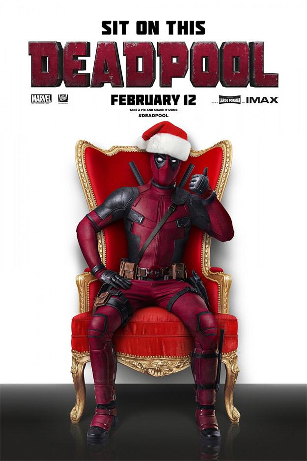Cartel navideño de Deadpool... estamos a unos 3 meses del estreno!