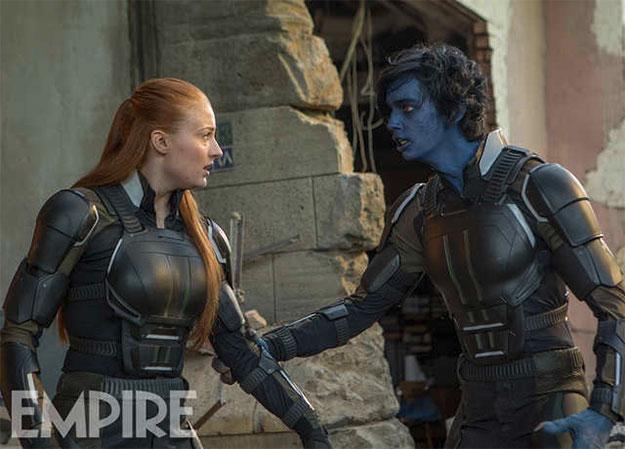 Rondador Nocturno (Kodi Smit-McPhee) y Jean Grey (Sophie Turner)