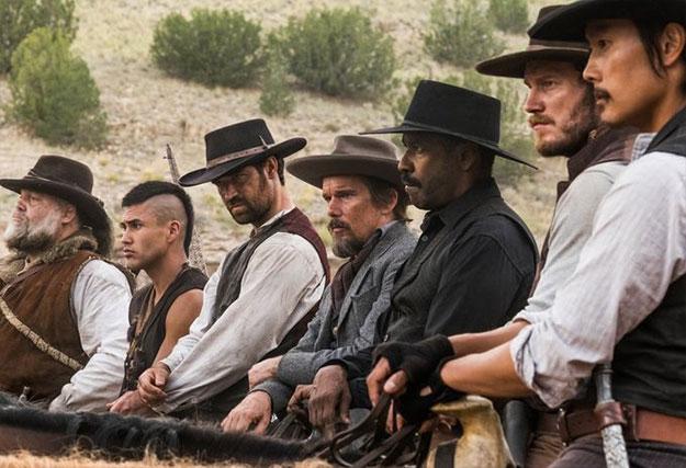 Los nuevos siete: Vincent D'Onofrio, Martin Sensmeier, Manuel Garcia-Rulfo, Ethan Hawke, Denzel Washington, Chris Pratt y Byung-hun Lee