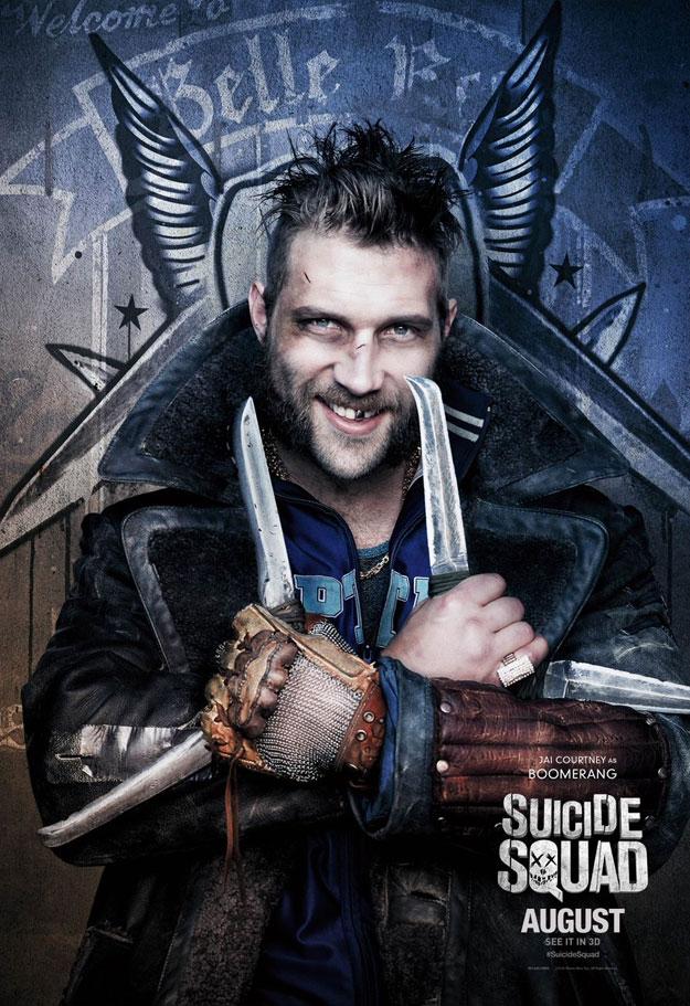Will Smith como Deadshot, Cara Delevingne como Enchantress y Jai Courtney como Boomerang